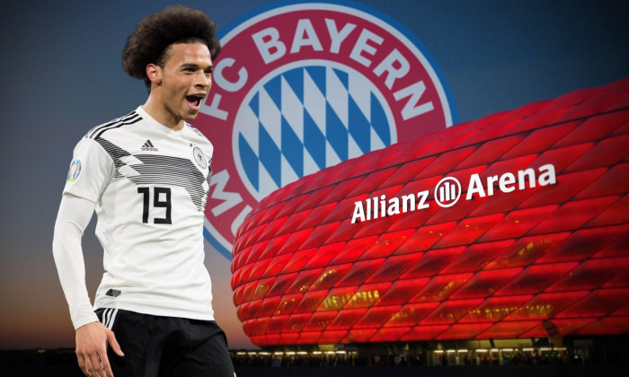 PHOTO ASSEMBLY: According to media reports, Leroy SANE is moving to FC Bayern Munich. The 24-year-old is said to have signed a contract by 2025. Archive photo; goal shooter Leroy SANE (GER) celebrates the goal for 1: 0 for Germany, jubilation, cheer, chee