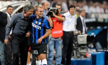 Wesley Sneijder, alături de Jose Mourinho / Foto: Getty Images