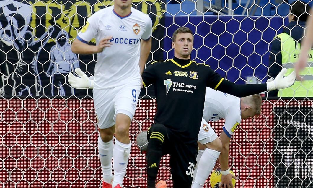 Sergey Pesyakov, portarul lui Rostov, în meciul cu CSKA Moscova / Foto: Profimedia