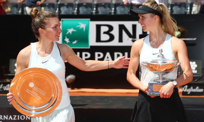 Elina Svitolina și Simona Halep, după finala de la Roma, din 2018 / Foto: Getty Images