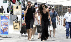 *EXCLUSIVE* Izabel Goulart and her fiance Kevin Trapp spotted enjoying a stroll through the alleys of Mykonos.