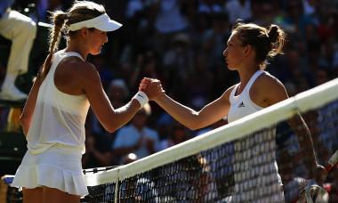 Eugenie Bouchard și Simona Halep, la Wimbledon, în 2014 / Foto: Getty Images