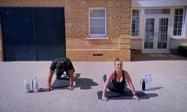 26.4.2020Former footballer and towie star Rio and Kate Ferdinand stream live fitness workout from thier home on you tube during the corona virus lockdownPeople in picture Rio Ferdinand,Kate Ferdinand
