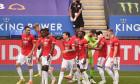Jucătorii lui Manchester United, după victoria cu Leicester / Foto: Getty Images
