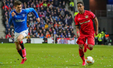 """Glasgow, UK. 12th Mar, 2020. Rangers FC played Bayer Leverkusen in Round of 16 -1st leg at Ranger's home stadium, Ibrox, Glasgow. in the UEFA """"Europa"""" league.According to Steven Gerrard, Ranger's manager, this game provides a great challenge but it is hop"""