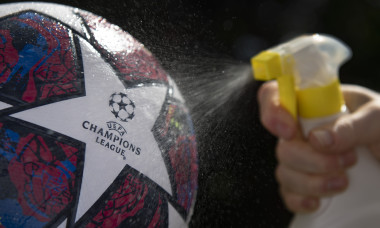The Official UEFA Champions League Ball Sprayed With Disinfectant