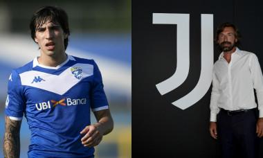 Sandro Tonali și Andrea Pirlo / Foto: Colaj Digi Sport