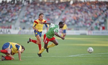 Roger Milla scores Cameroon v Romania 1990 FIFA World Cup