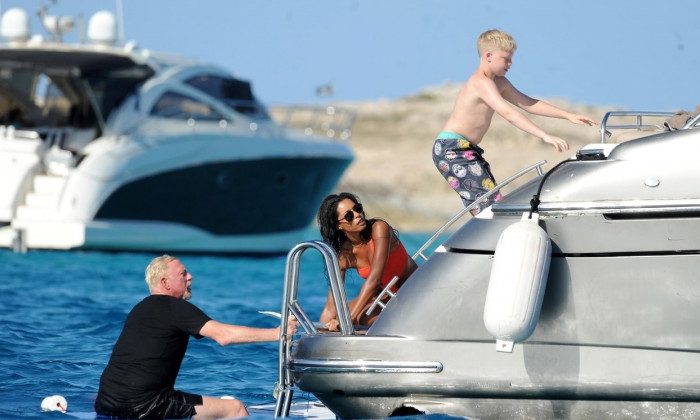 *PREMIUM-EXCLUSIVE* Boris Becker and his new girlfriend Lilian de Carvalho enjoy a day at sea in Formentera. *MUST CALL FOR PRICING*
