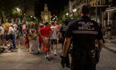 Police device and atmosphere after Sevilla FC win the final of the Europa League
