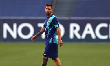 Lionel Messi, la unul dintre antrenamentele susținute de Barcelona la Lisabona / Foto: Getty Images