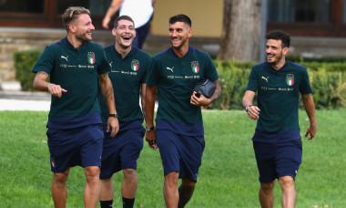 Ciro Immobile, Andrea Belotti, Lorenzo Pellegrini și Alessandro Florenzi, la o acțiune a naționalei Italiei / Foto: Getty Images