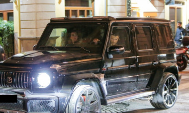 *EXCLUSIVE* Juventus Madeiran superstar footballer Cristiano Ronaldo gets mobbed by fans while leaving a restaurant after he was gifted a £600,000 Mercedes G wagon BRABUS V12 for his 35th Birthday by girlfriend Georgina Rodriguez!