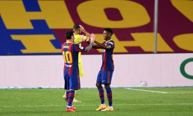 Ansu Fati și Lionel Messi, în meciul dintre Barcelona și Villarreal / Foto: Getty Images
