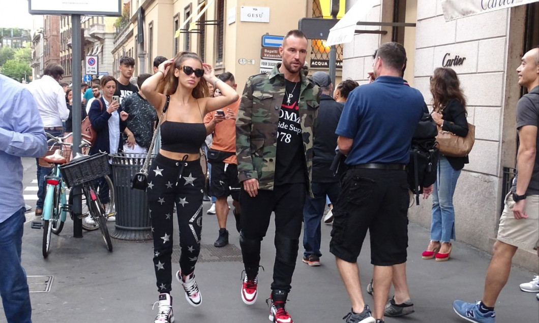German fashion designer Philipp Plein strolling in the downtown streets with his partner, the Romanian model Andreea Sasu in Milano.