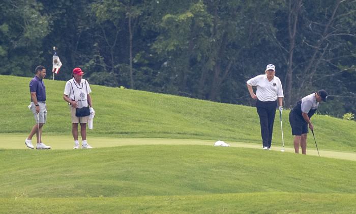 President Trump Goes Golfing In Virginia