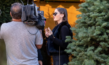 Maluma's Girlfriend Natalia Barulich seen shopping for Christmas tree's in Los Angeles, CA
