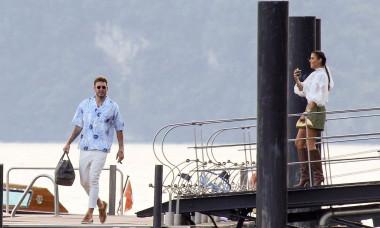 *EXCLUSIVE* Danish professional footballer Nicklas Bendtner and his girlfriend Philine Roepstorff visit wedding locations in Lake Como!