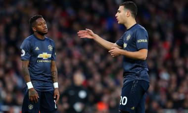 Diogo Dalot, alături de Fred într-un meci Arsenal - Manchester United / Foto: Getty Images