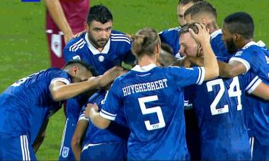 Fotbaliștii Craiovei, sărbătorind golul marcat de Radu Negru cu Rapid / Foto: Captură Digi Sport