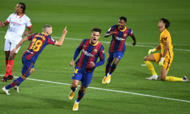 Philippe Coutinho, după golul marcat pentru Barcelona în meciul cu Sevilla / Foto: Getty Images