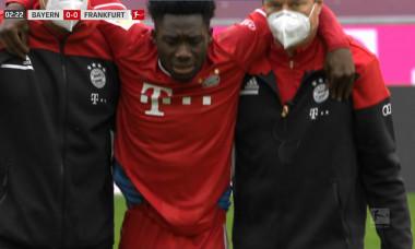 Alphonso Davies s-a accidentat în meciul cu Eintracht Frankfurt / Foto: Captură Digi Sport