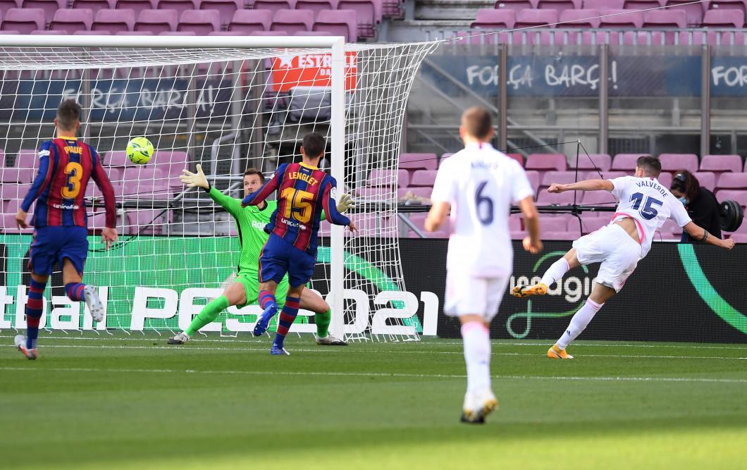Federico Valverde a deschis scorul pentru Real Madrid cu Barcelona / Foto: Getty Images
