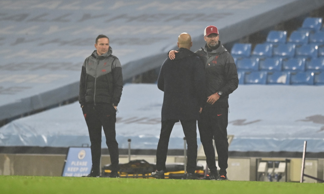 Pep Guardiola și Jurgen Klopp, după Manchester City - Liverpool 1-1 / Foto: Getty Images