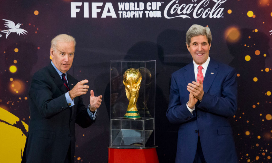 Biden And Kerry Deliver Remarks At FIFA World Cup Trophy Tour Ceremony
