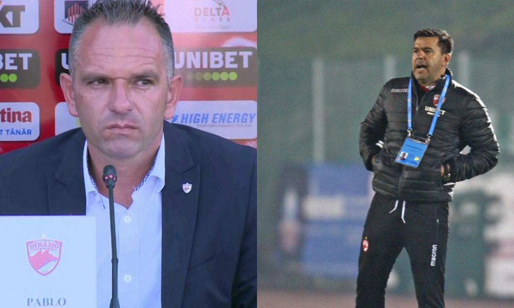 Pablo Cortacero și Cosmin Contra, acționarul majoritar, respectiv antrenorul principal de la Dinamo / Foto: Colaj Digi Sport