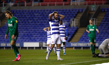 Madejski Stadium, Reading, Berkshire, UK. 4th Nov, 2020. English Football League Championship Football, Reading versus Preston North End; George Puscas of Reading is disappointed after his header goes over the bar Credit: Action Plus Sports/Alamy Live New
