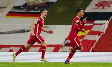 Roberto Firmino și Diogo Jota, în meciul Liverpool - Leicester / Foto: Getty Images