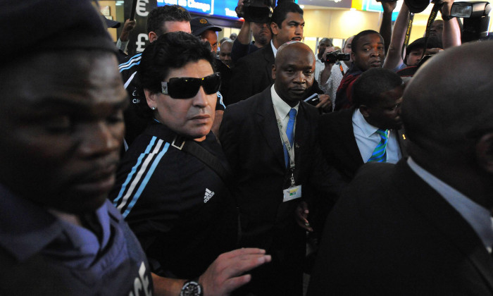 Diego Maradona Arrives In Johannesburg