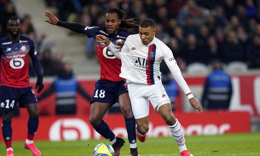 Renato Sanches, în duel cu Kylian Mbappe într-un meci Lille - PSG / Foto: Profimedia