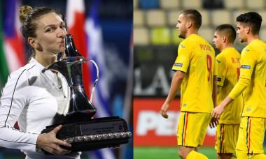 Simona Halep, după titlul cucerit la Dubai, și fotbaliștii naționalei României / Foto: Colaj Digi Sport