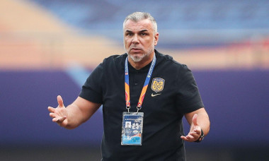 The head coach of Chinese Super League side Jiangsu Suning Cosmin Olaroiu reacts during the second round of quarter-final match of 2020 Chinese Super League (CSL) against Shanghai SIPG F.C., Suzhou city, east China's Jiangsu province, 2 November 2020.Sha