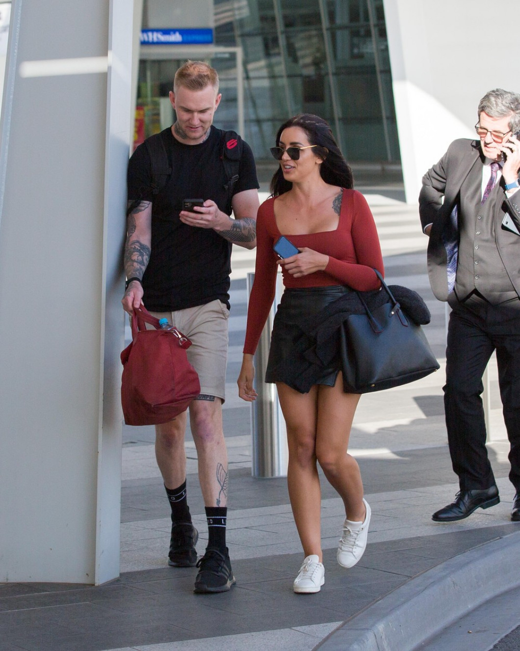 EXCLUSIVE: New man already? Love Island's Vanessa Sierra is all smiles as she touches down in Adelaide with Luke Erwin