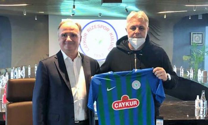 Marius Șumudică, alături de Ali Zeki Saruhan, vicepreședintele lui Rizespor / Foto: caykurrizespor.org.tr