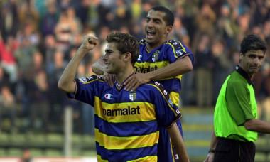 Adrian Mutu of Parma celebrates scoring