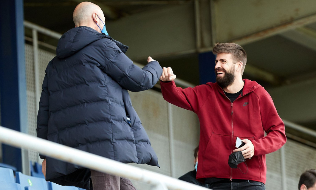 Gerard Pique Visits His Team During RCD Espanyol B V FC Andorra Match, Sant Adria, Spain - 03 Feb 2021