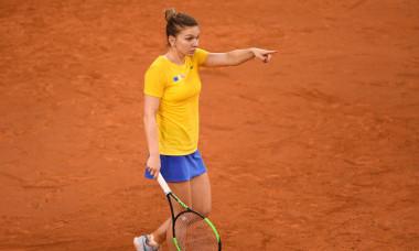 Simona Halep, în meciul Franța - România, din semifinalele FED Cup / Foto: Profimedia