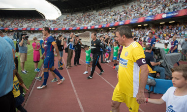 CLUJ, ROMANIA - JUNE 16, 2018: Football player Gheorghe Hagi (Romania Golden Team) and Barcelona Legends entering the playfield at the beginning of a