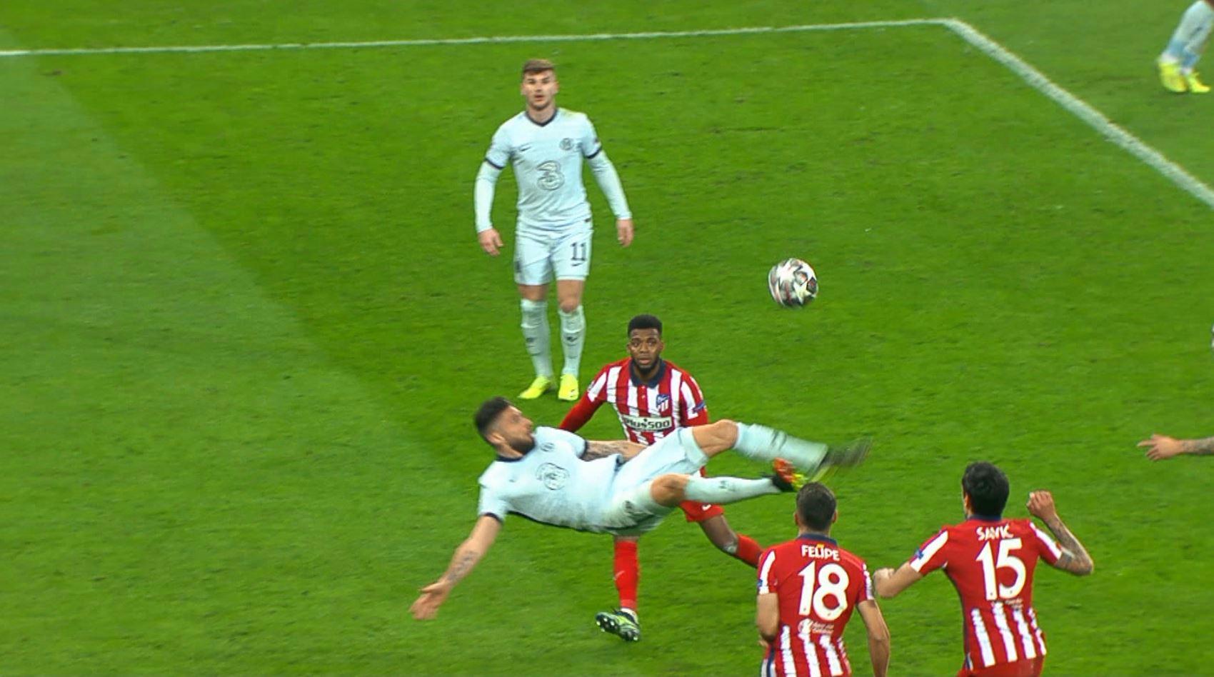 Olivier Giroud, gol de poveste pe Arena Națională! Cum a marcat împotriva lui Atletico. A fost nevoie de intervenția VAR