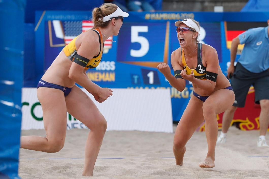 1 july 2019Hamburg, GermanyWorld Championship BeachvolleyballWK Beachvolleybal 2019 - Dag 1 - Hamburg - DuitslandL-R Julia Sude (GER,1), Karla Bo