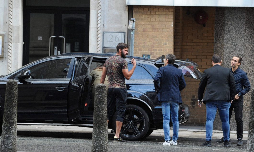 *EXCLUSIVE* New Liverpool signing Alisson Becker & family enjoy meal in Liverpool