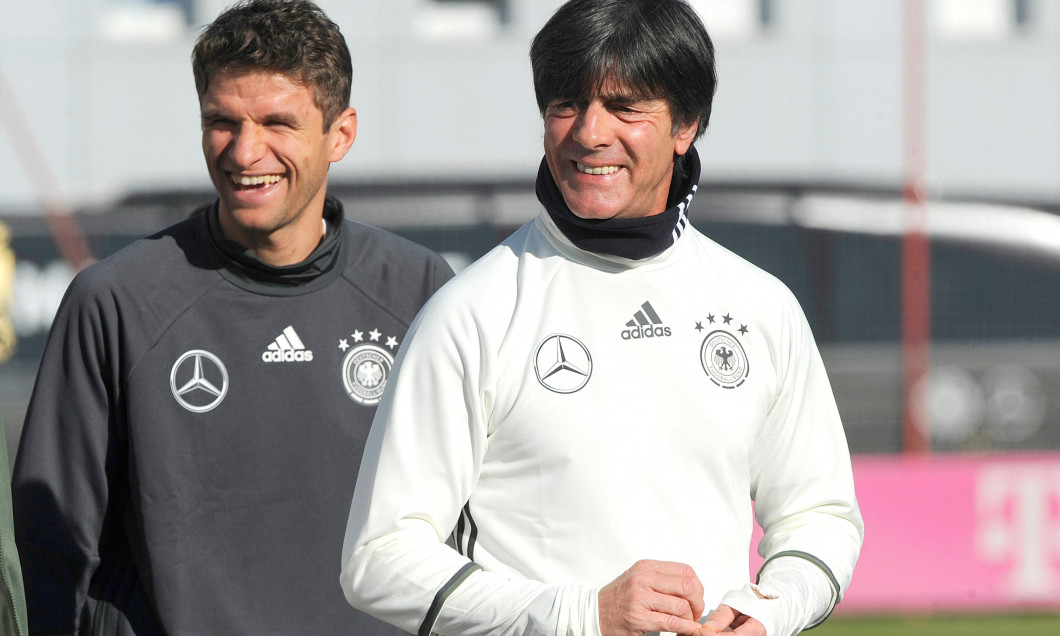 Munich, Deutschland. 07th Mar, 2019. Federal coach Joachim Jogi LOEW, LOW (GER) and Thomas MUELLER. Archivfoto: v.re :Bundescoach Joachim Jogi LOEW, L, AOW (GER), Thomas MUELLER (MULLER) (GER), laughs, laughs, laughsd, optimistic, cheerful, football train