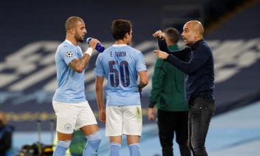 Pep Guardiola, Eric Garcia și Kyle Walker, în timpul meciului Manchester City - Porto / Foto: Profimedia