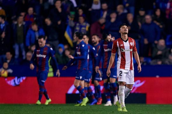 VALENCIA, SPAIN - DECEMBER 03: Cristian Ganea of Athletic Club de Bilbao reacts during the La Liga match between Levante UD and Athletic Bilbao at Ciutat de Valencia on December 3, 2018 in Valencia, Spain. (Photo by David Aliaga/MB Media)