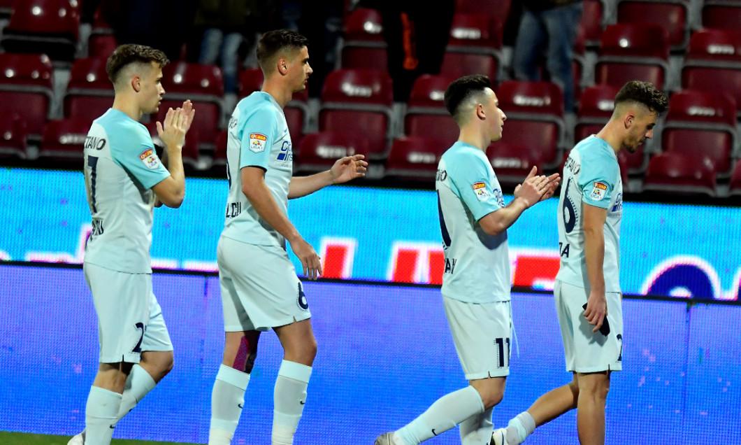 Darius Olaru, Dragoș Nedelcu, Olimpiu Moruțan și Răzvan Oaidă, după un meci CFR Cluj - FCSB / Foto: Sport Pictures