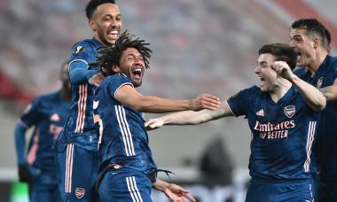 Fotbaliștii lui Arsenal, în meciul cu Olympiakos / Foto: Getty Images